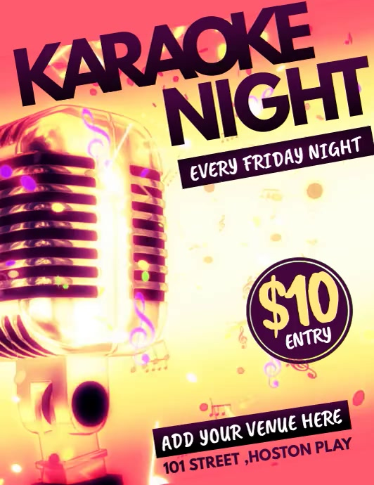 Karaoke templates,jazz flyers,event flyers Pamflet (VSA Brief)