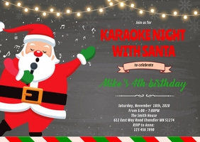 Karaoke with Santa party invitation A6 template