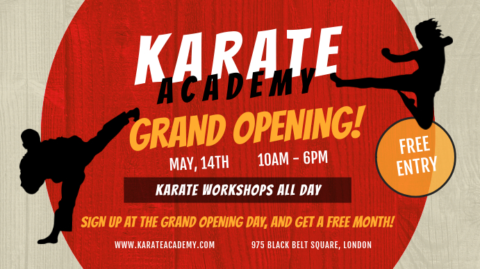 Karate Academy Grand Opening Digital Display 数字显示屏 (16:9) template