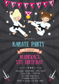 Karate birthday party invitation