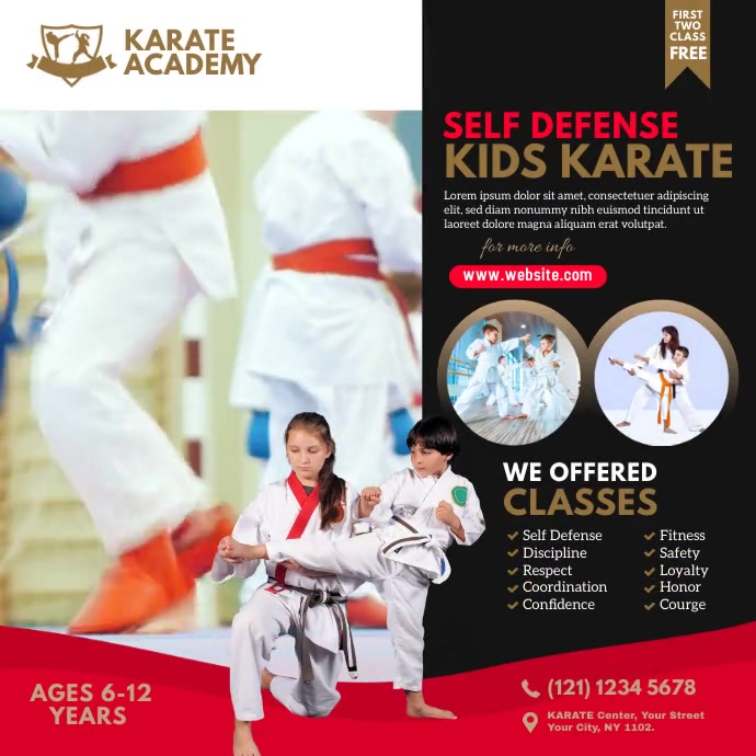 Karate Class Video Ad Instagram Post template