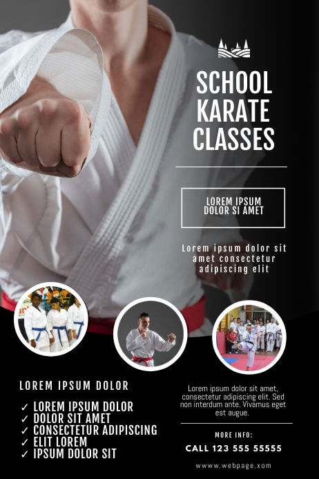 Karate classes flyer design template Poster