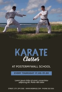 karate classes video design template Poster