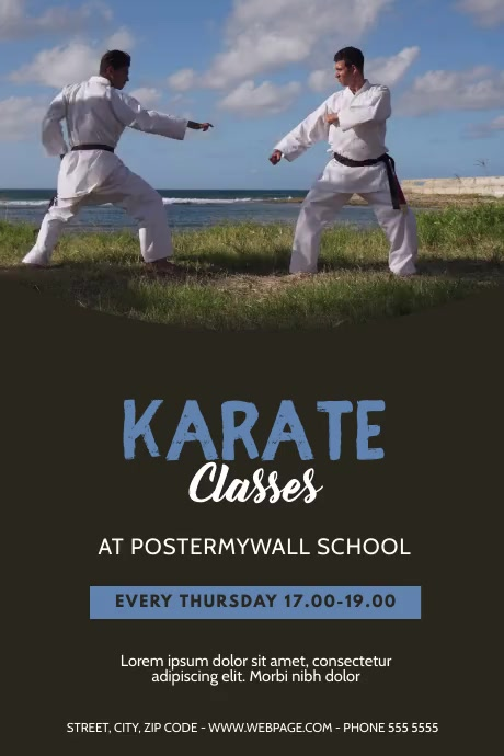 karate classes video design template โปสเตอร์