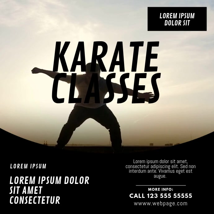 karate classes video design template สี่เหลี่ยมจัตุรัส (1:1)