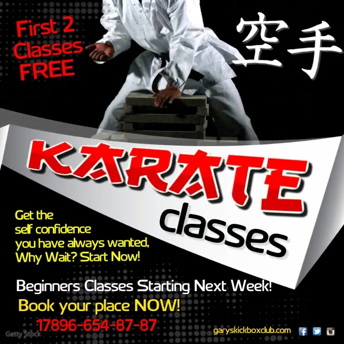 Karate Classes Video Post Template | PosterMyWall