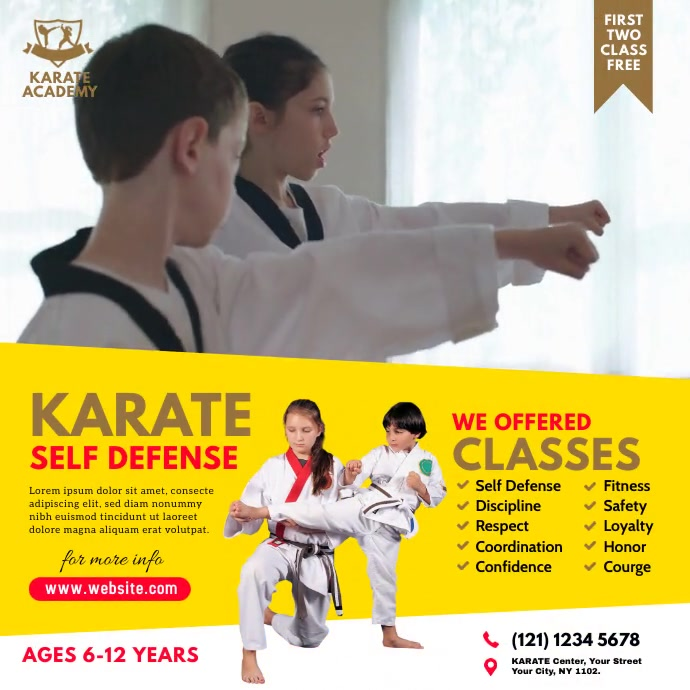 Karate Lessons Ad Instagram Post template