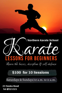 karate lessons poster template
