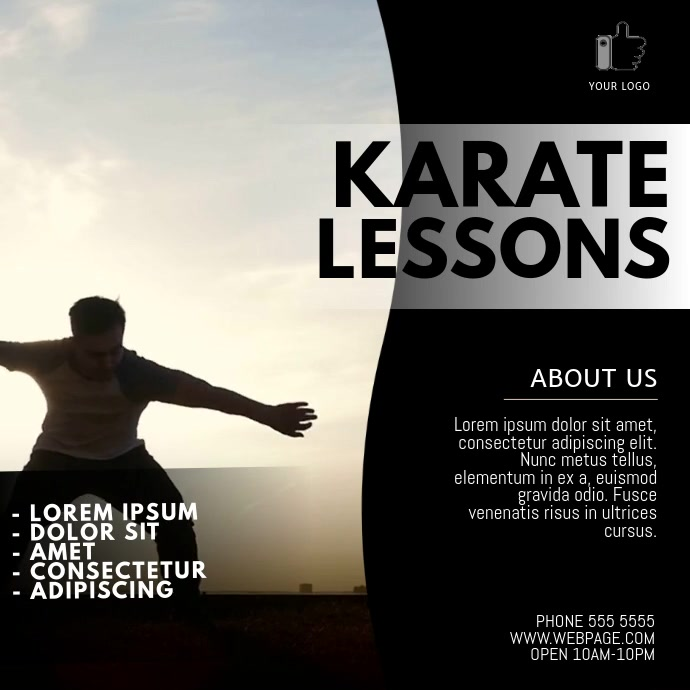 Karate lessons video ad template Quadrado (1:1)