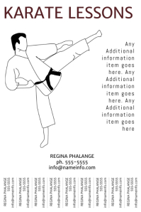 Karate Lessons Flyer Template with tear off tabs