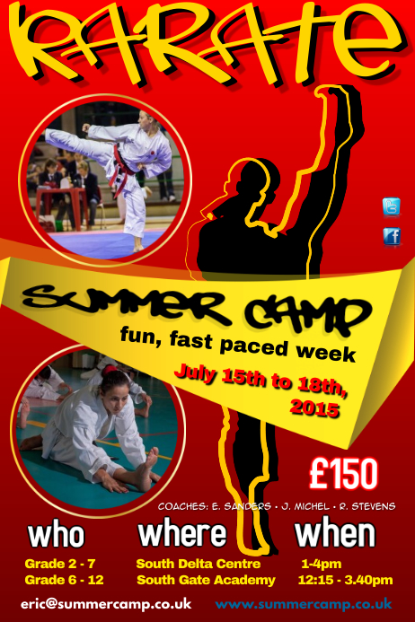 Karate Summer Camp Poster Template Postermywall