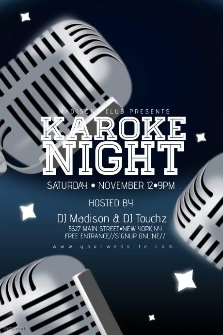 Karoke Night Mic Stars Event Poster Flyer Plakat template