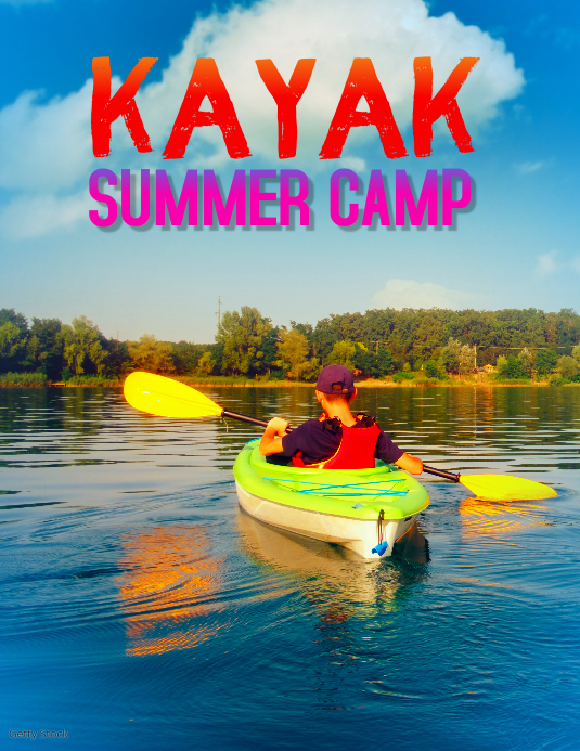 kayak summer camp flyer