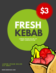 Kebab stand flyer design template
