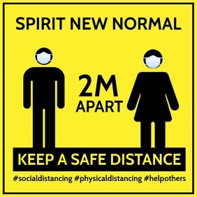 Keep A Safe Distancing Sign Template Cuadrado (1:1)