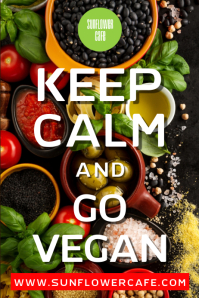 Keep Calm and Go Vegan Poster Template