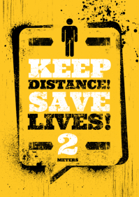 KEEP DISTANCE POSTER A4 template