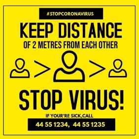 Keep Safe Distance Poster for Covd-19 Publicación de Instagram template
