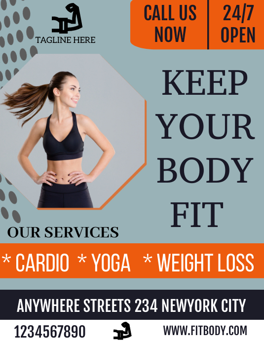 Keep your body fit flyer Folheto (US Letter) template