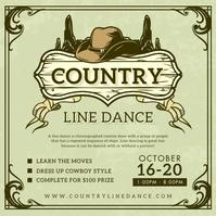 Khaki Cowboy Line Dancing Club Instagram Post template