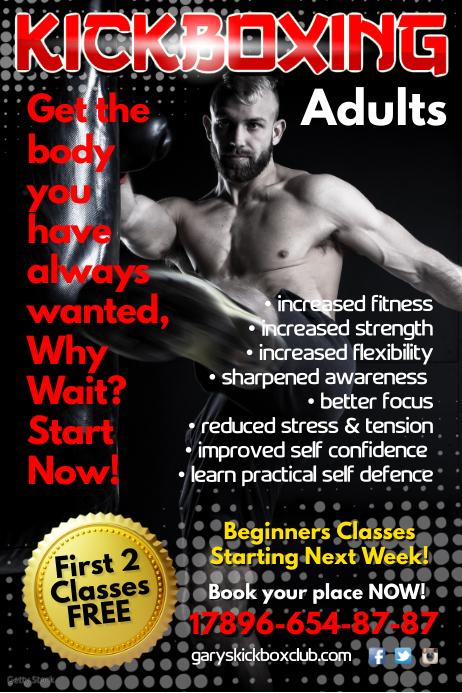 kick boxing club poster