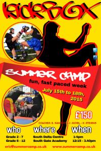 Kick Boxing Club Summer Camp Poster