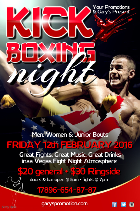 kick boxing night poster template postermywall