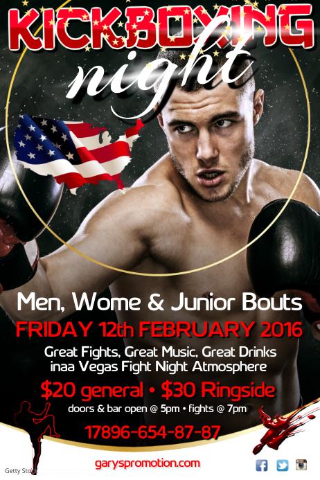 kick boxing night poster Póster template