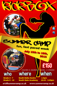 kick boxing summer camp poster