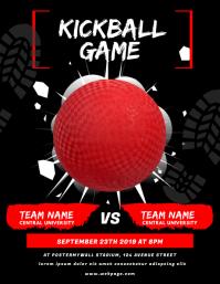 Kickball Game Flyer Design Template Pamflet (Letter AS)