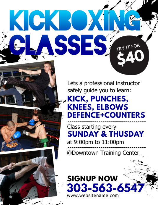 Kickboxing Classes Flyer Ulotka (US Letter) template