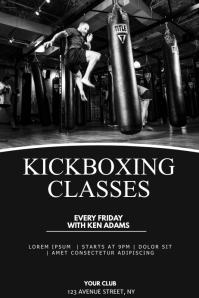 Kickboxing classes flyer template Plakat