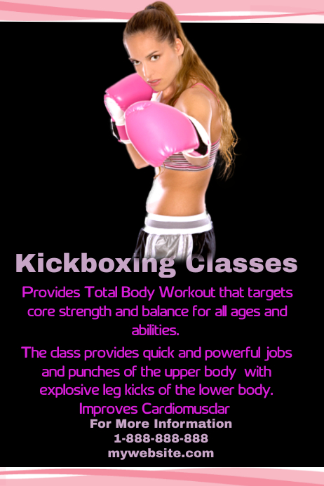 Kickboxing Fitness Classes Template Postermywall