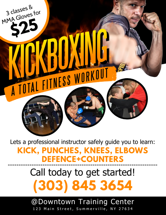 Kickboxing Workout Flyer template