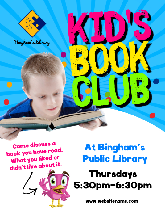 kid s book club flyer template postermywall