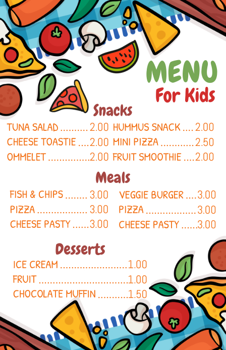 kid s menu template postermywall
