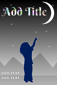 kid child pointing a finger - sky at night with moon and stars