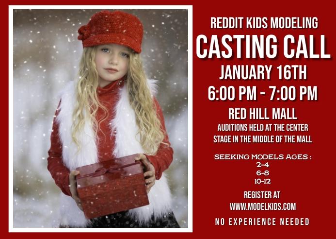 Kid fashion model casting call Kartu Pos template