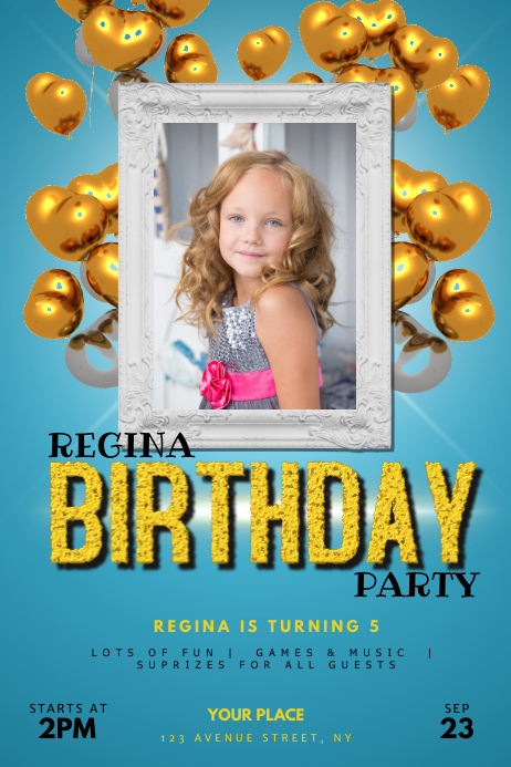 Kid Girl Birthday Party Flyer Template