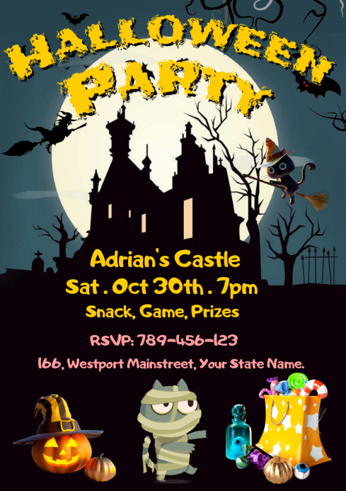 Kid Halloween Party Invitation Template A4
