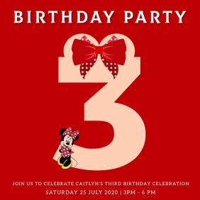 KIDS 3RD THIRD BIRTHDAY PARTY Template Square (1:1)