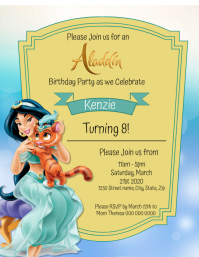Kids Aladdin Birthday Invitation Template