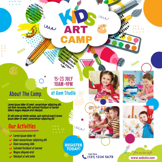 Kids Art Camp Instagram-opslag template