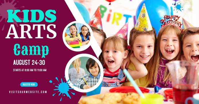 Kids Art Camp Facebook Event Cover design template