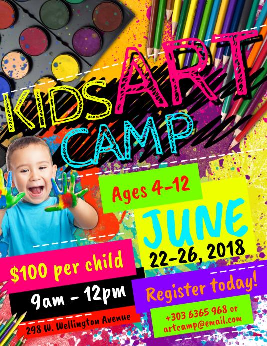 Kids Art Camp Flyer Volante (Carta US) template