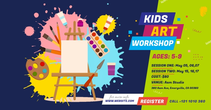 Kids Art Workshop Ad Gambar Bersama Facebook template