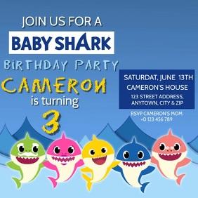 KIDS Baby Shark BIRTHDAY INVITE Template Квадрат (1 : 1)