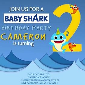 KIDS Baby Shark BIRTHDAY INVITE Template สี่เหลี่ยมจัตุรัส (1:1)
