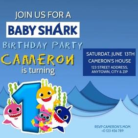 KIDS Baby Shark BIRTHDAY INVITE Template Square (1:1)
