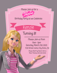 Kids Barbie Birthday Invitation Template